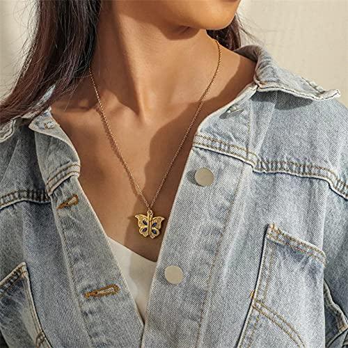 Collar de mujer Collares mariposa mujer gargantilla elegante acero inoxidable cadena clavícula...