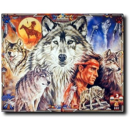 native American spirit animal wolf art poster artwork wall decor