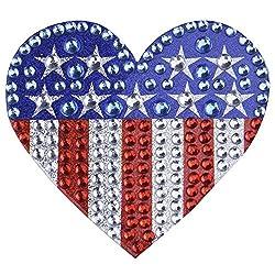 US Heart Flag 1-single Crystal Rhinestone Sticker