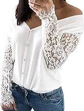 Women's V Neck Elegant Lace Hollow Long Sleeve Tops Slim Splice Casual Blouse Shirts