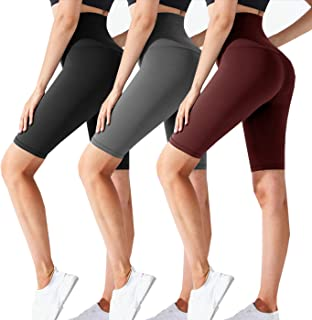 3 Pack Biker Shorts for Women-High Waisted Workout Running Athletic Shorts for Women Yoga Gym Womens Shorts
