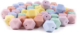 Mamimami Home 歯固め シリコーン製 キャンディーの色 八角ビーズ 14MM 50個 歯固め石 おしゃぶり かわいい DIY用 アクセサリー 3カ月 ベビー ママ パパ 赤ちゃん ネックレス DIY アクセサリー 「FDA認可済」「BPAフリー」