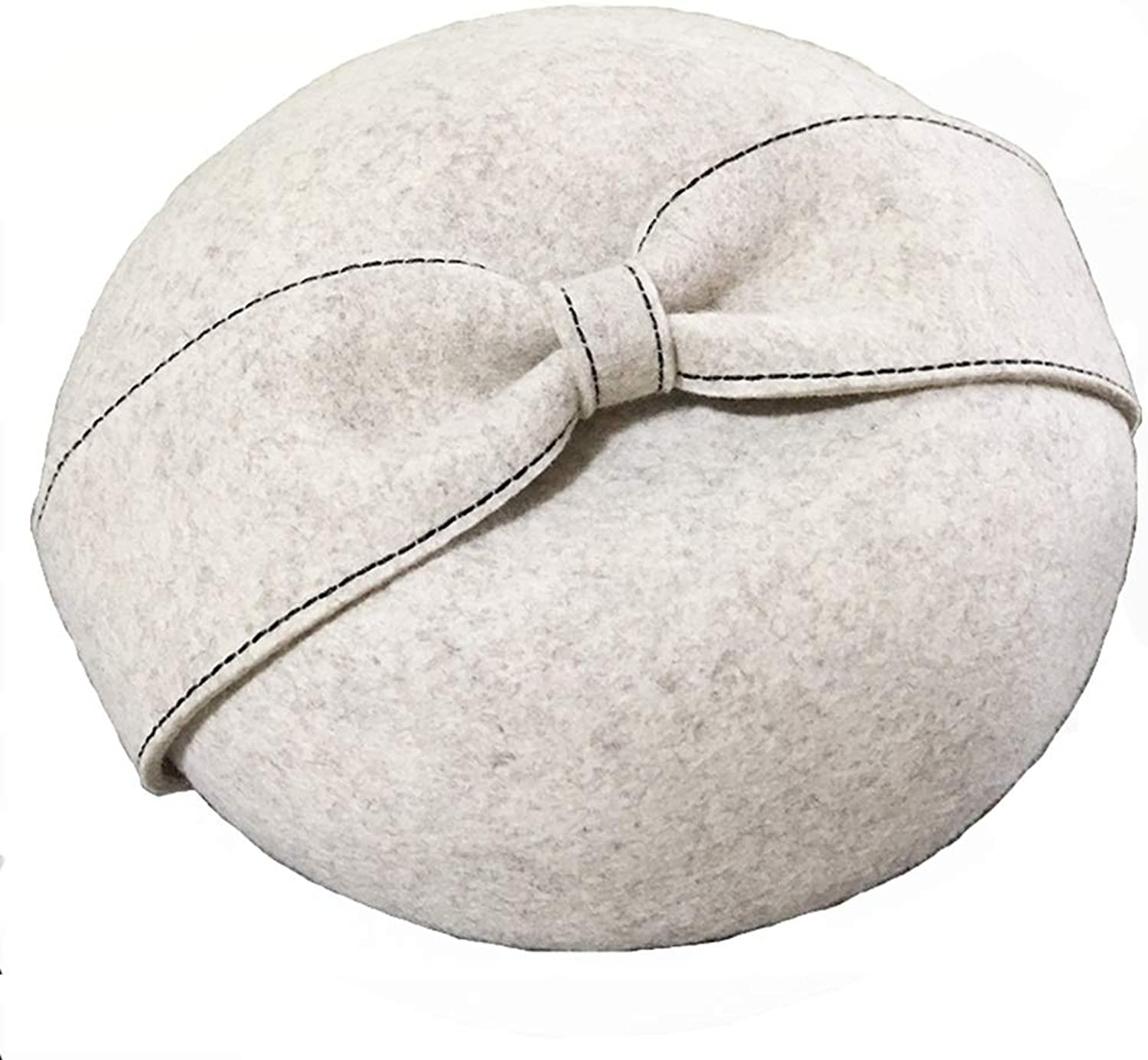 Berets Women's Beret Hat 100% Wool French Beret Winter Autumn Hat Ladies (color   White)