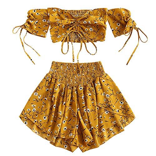 Zaful - Completo da donna a maniche corte, a spalle scoperte, con top e pantaloncini a vita alta, motivo floreale, estivo giallo. M