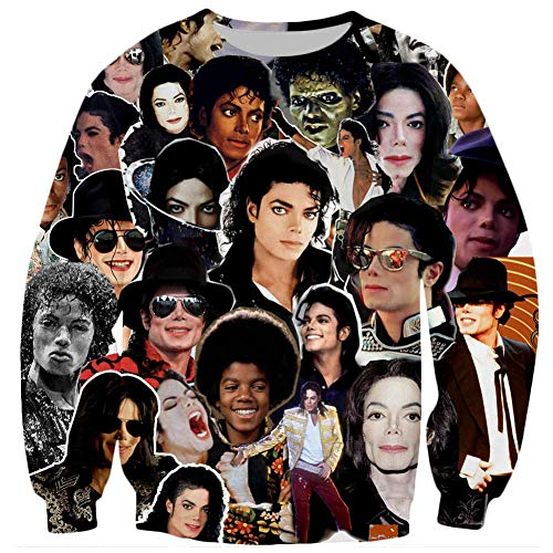 Funny Hoodies Interessant Hot Sweatshirt 3D Kleidung T-Shirt Gr. 58, Michael Jackson Collage