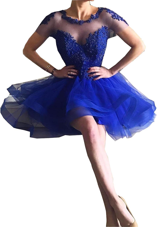 Beautydress Royal bluee Short Homecoming Dress Graduation Beaded Prom Gowns Girls BP138