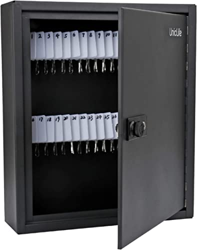 Uniclife 60 Keys Slotted Key Cabinet Steel Security Safe Lock Box with Combination Lock, Black