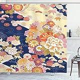 ABAKUHAUS Japanisch Duschvorhang, Traditionelle Blumen, Seife Bakterie Schimmel und Wasser Resistent...