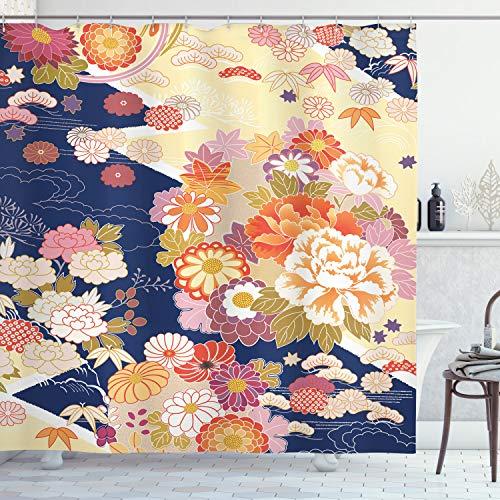 ABAKUHAUS japonés Cortina de Baño, Tradicional Flores, Material Resistente al Agua Durable Estampa Digital, 175 x 200 cm, Multicolor