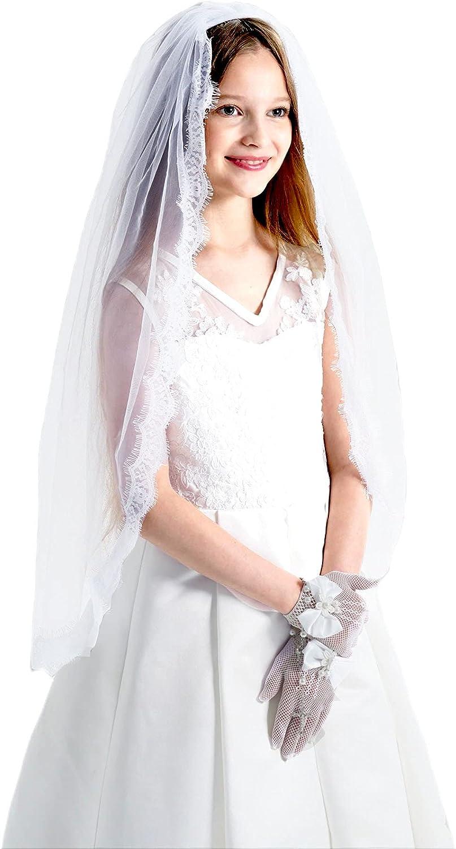 Max 40% OFF Girls First Communion Veil Lace Mail order Holy Eyelash Edge White Mantilla