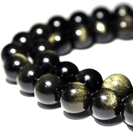 Amazon Com Jartc Rare Collection Natural Stone Beads Gold Obsidian Round Loose Beads For Jewelry Making Diy Bracelet Necklace 8mm Home Kitchen