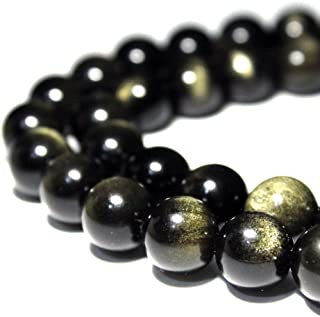 JARTC Rare Collection Natural Stone Beads Gold Obsidian Round Loose Beads for Jewelry Making DIY Bracelet Necklace (6mm)