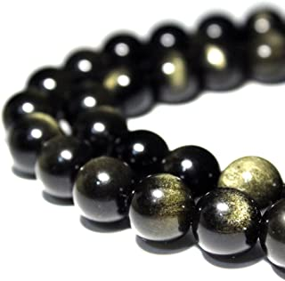JARTC Rare Collection Natural Stone Beads Gold Obsidian Round Loose Beads For Jewelry Making Diy Bracelet Necklace (8mm)
