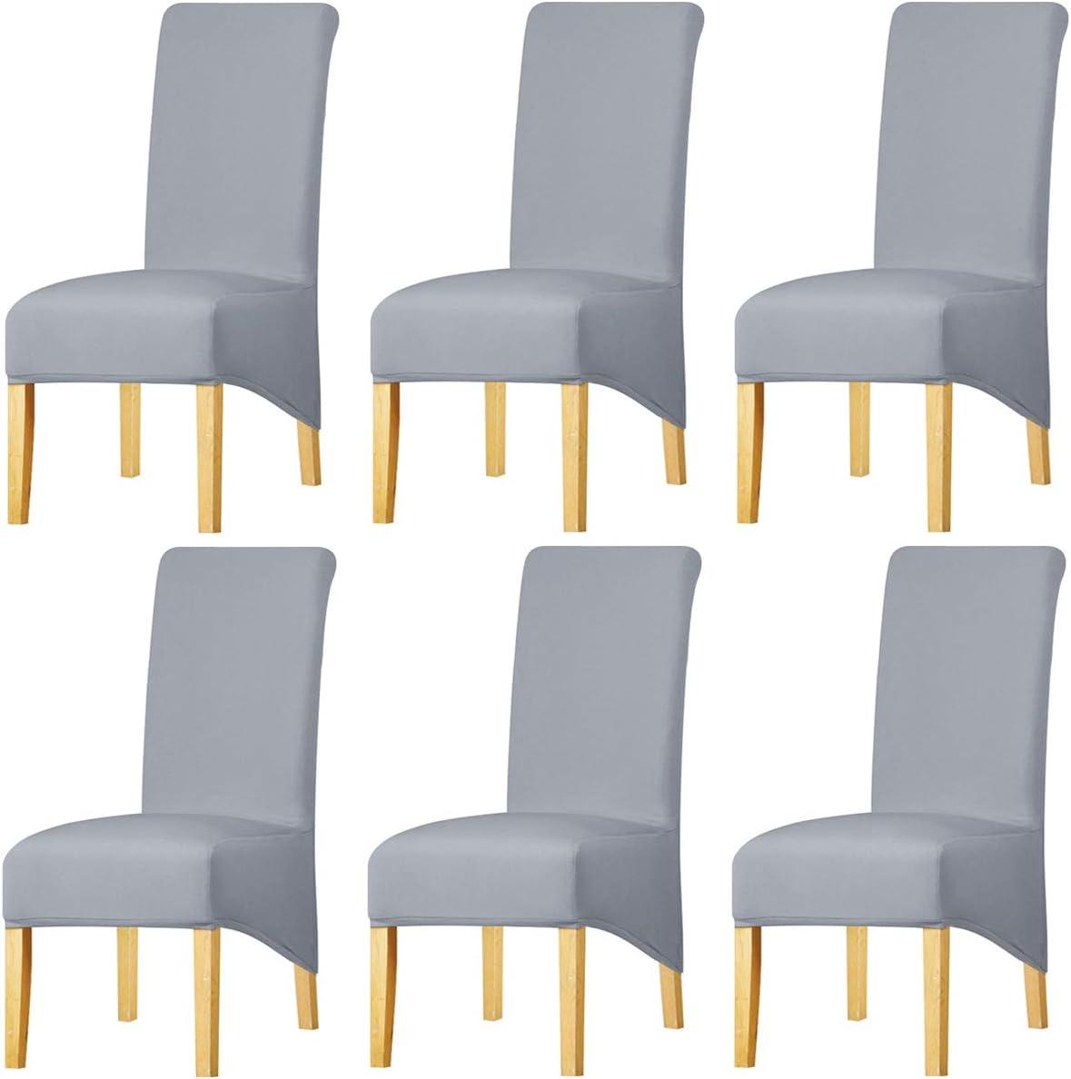 KELUINA Estiramiento sólido con respaldo alto Cubiertas de silla XL para comedor, fundas de silla de comedor grandes de Spandex para la vida en el hogar Restaurante Hotel (6 PACK,Gris claro)