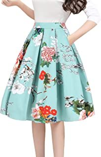 Tandisk Women's Vintage A-line Printed Pleated Flared...