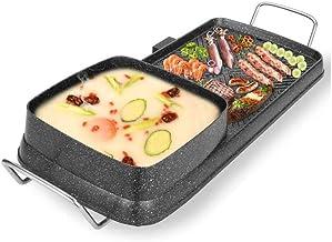 DYXYH Noir électrique Hot Pot, BBQ Grill et Hot Pot, multi-fonction électrique Shabu Shabu Hotpot avec barbecue Grill, éle...