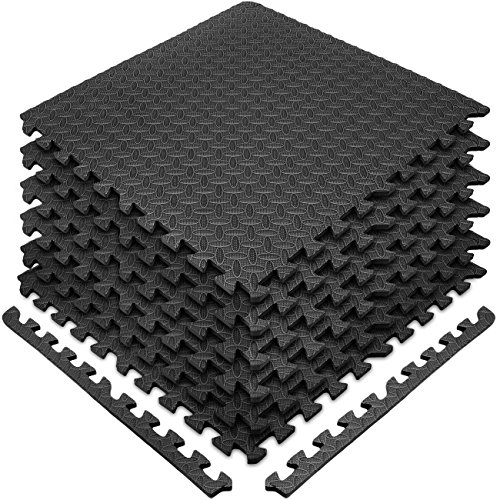 Sivan Health and Fitness Puzzle Exercise Mat EVA Foam Interlocking Tiles—Protective Flooring for Gym, Garage Flooring, Playroom, Workshop, Basement, and More (Black)