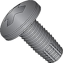 Steel Thread Cutting Screw, Black Oxide Finish, Pan Head, Phillips Drive, Type F, #2-56 Thread Size, 1/8