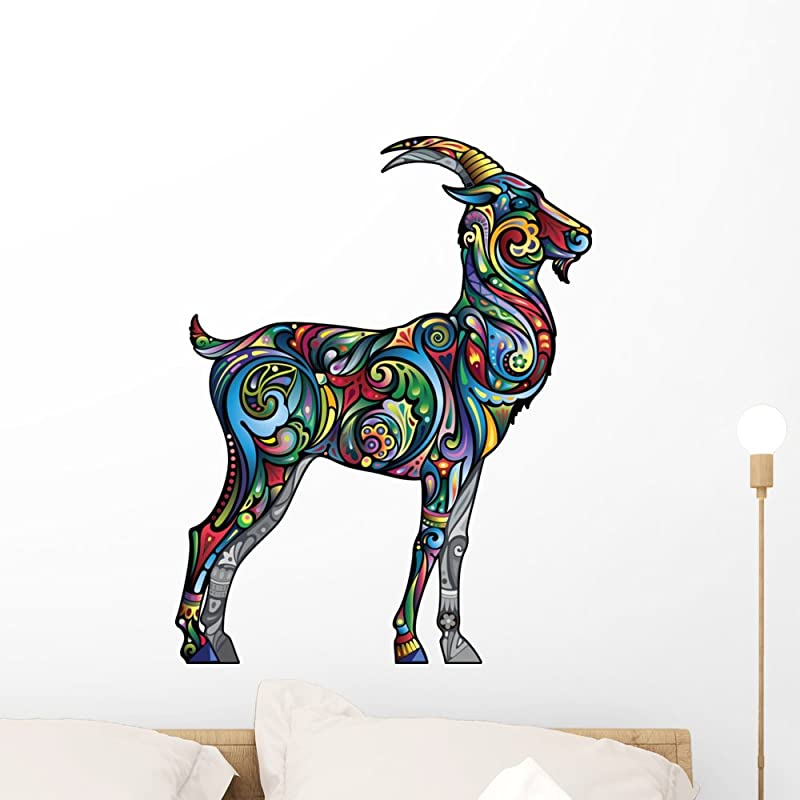 Wallmonkeys Cheerful Goat Wall Decal Peel And Stick Graphic 24 In H X 19 In W WM171168