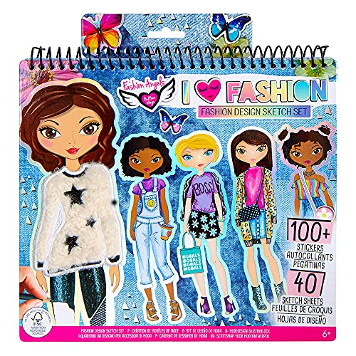 Fashion Angels I Love Fashion Sketch Portfolio for Kids - Fashion Design Sketch Book for Beginners, Fashion Sketch Pad with Stencils and Stickers For Kids 6 and Up