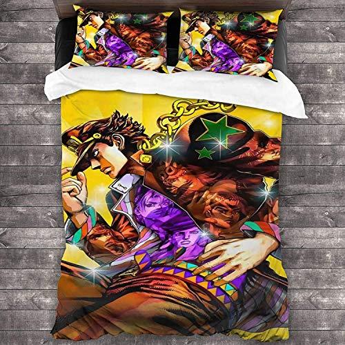 SK-PBB Juego de ropa de cama Anime – Funda nórdica y 2 fundas de almohada, 100% microfibra, impresión digital 3D, juego de cama para adolescentes (JoJo's Bizarre Adventure, 220 x 240 cm (80 x 80)