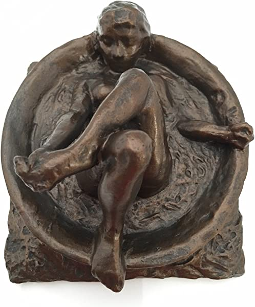 Degas Study Of Woman Bathing In Round Tub Statue 5 5L