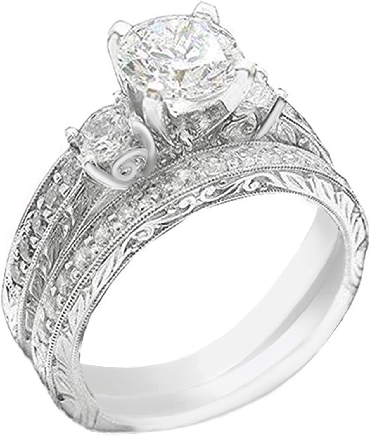 Venetia Pave Realistic 1.5 Carat Limited time cheap sale Ring Set Diamond Band Simulated National uniform free shipping