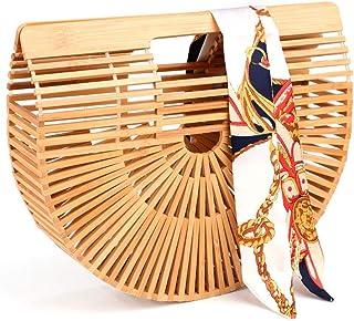 Bamboo Bags for Women Summer Straw Wooden Beach Purse Handmade Basket Handle Handbags