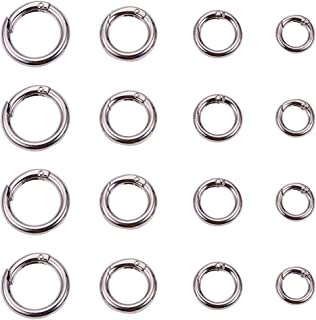 PandaHall Elite 16 Pcs Spring O Ring Round Carabiner Snap Clip Hook Trigger Spring Keyring Buckle 4 Styles for Bags, Purses, Keychain Platinum