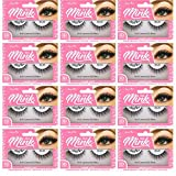 Amorus 3D Hand made Faux Mink Black Lashes #22 Nature fluffy light Reusable (12 PACK)