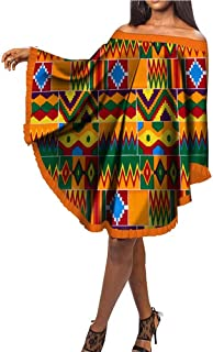 Womens Off Shoulder African Poncho Dress Summer Ankara Ruffle Mini Dress