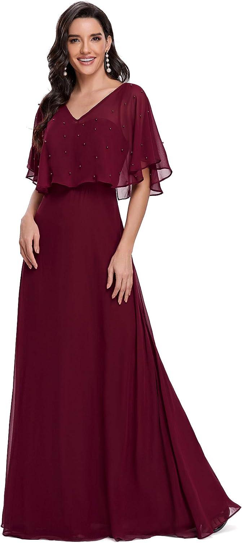 Ever-Pretty Women's Beading Short Sleeve Chiffon Evening Party Dresses 0110