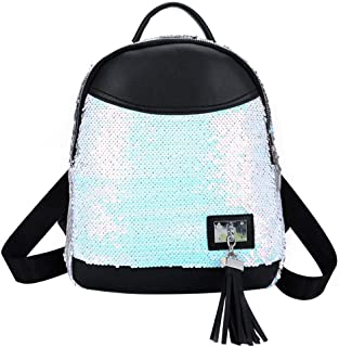 57db2ec5ad Jocestyle Fashion Backpack with Tassel Sequin School Bags Large Capacity  Travel Outdoor Shoulder Bag