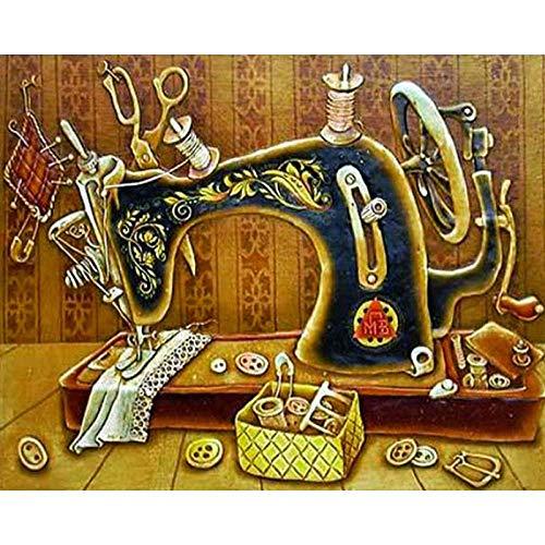 Zhonchng DIY Schilderen door Aantal Kits,Naaimachine Olieverf Tekenen Canvas met Borstels Kerstmis Decor Decoraties Geschenken - 16 * 20 Inch Met frame