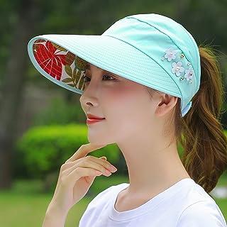 LONGren Ladies Floppy Wide Brim Sun Hat, Summer UV Protection Adjustable Beach Hat, Foldable Fishing Hat (Color : Lake Blue)
