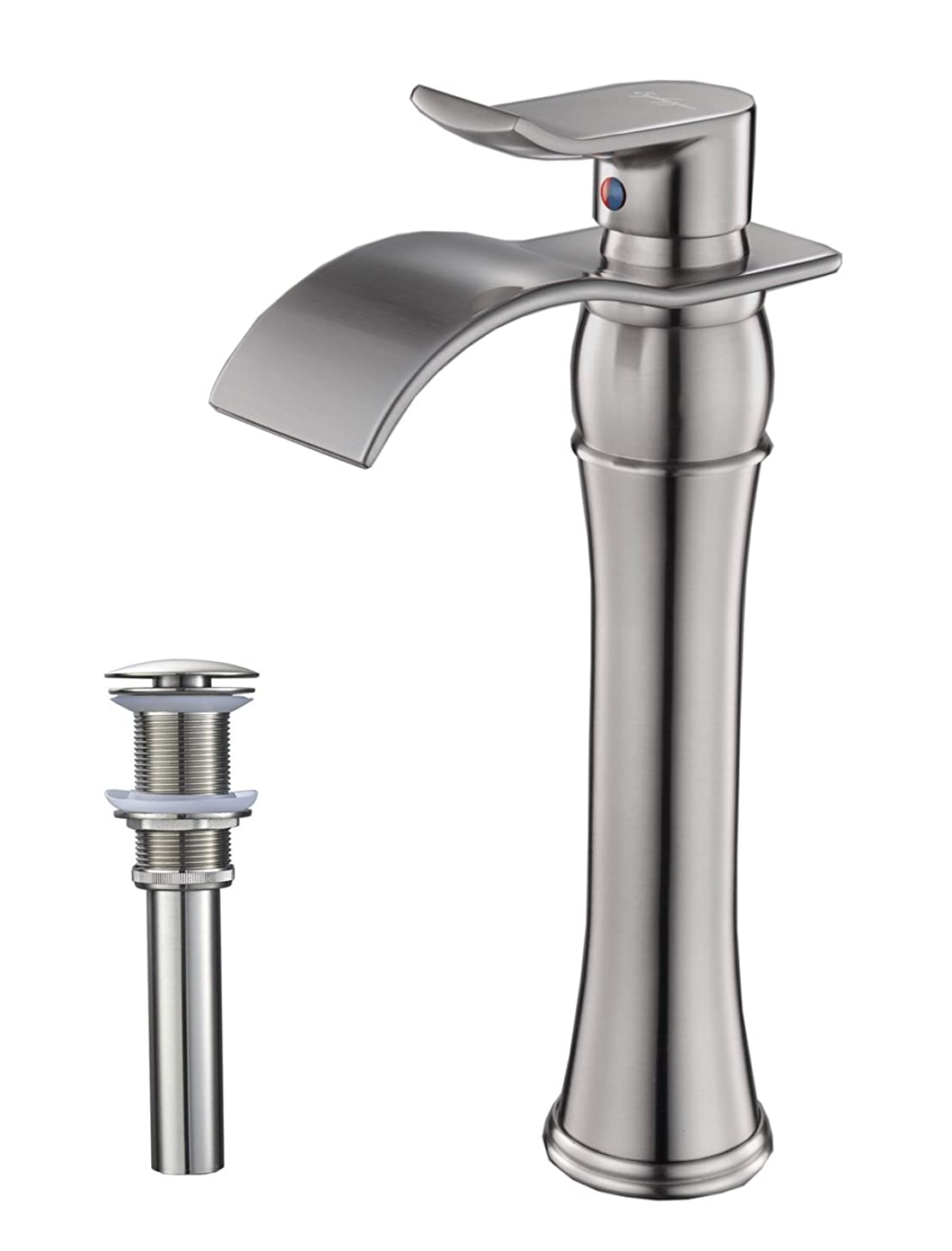 BWE Waterfall Spout Single Handle Commercial Bathroom Sink Vessel Faucet Mixer Tap Lavatory Faucets Tall Body Brushed Nickel