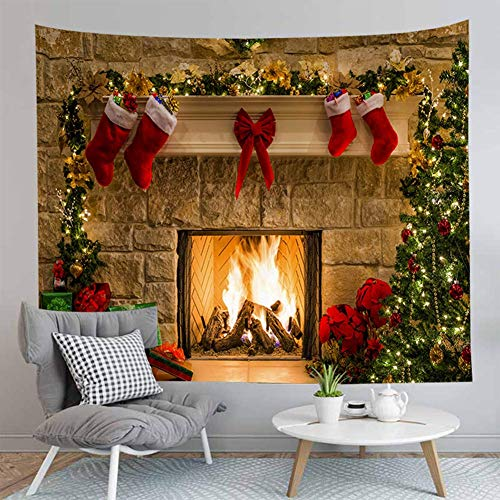 Jasion Merry Christmas Tapestry Fireplace Xmas Tree Stockings Gifts Wall Hanging Art for Backdrop for Photography Blanket Home Headboard Bedroom Living Room Dorm Festival Decor in 51x60 Inches