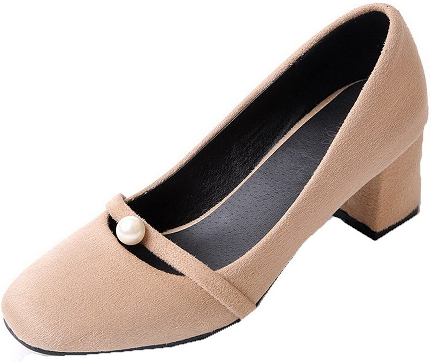 WeenFashion Women's Imitated Suede Pull-On Square-Toe Kitten-Heels Pumps-shoes