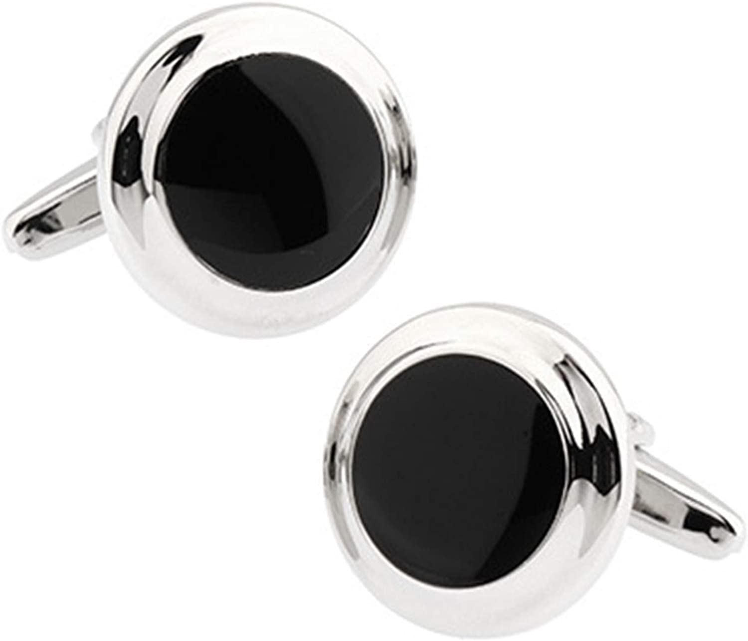 KnBoB Indefinitely Men Cufflinks Round Silver Personalized Gi Black Sales for sale