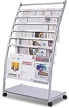 聽Roestvrijstalen krantenrek, reclamerek voor tijdschriften, staand rek voor kantoor/lobby (met krantenclip)