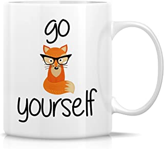 Retreez Funny Mug - Go Fox Yourself 11 Oz Ceramic Coffee Mugs - Funny, Sarcasm, Sarcastic, Motivational, Inspirational birthday gifts for friends, coworkers, siblings, dad or mom