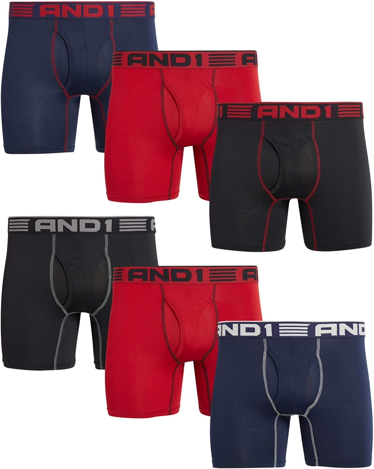 AND1 Men's Underwear – Performance Compression Boxer Briefs, Functional Fly (6 Pack)