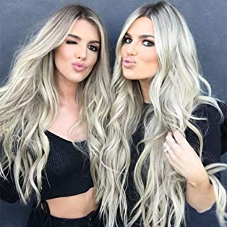 Synthetic Ombre Ash Blonde Wig Long Curly Wavy Wig 28 Inch Middle Part Wig for Women 2 Tone Blonde Wig Full Curly Cosplay Wigs