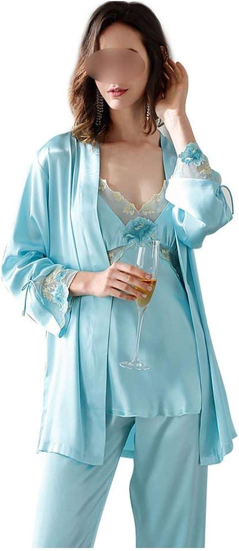 Women's Sleepwear Ice Silk Lace Pajama Sets ThreePiece Slim