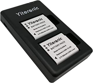 Yiteronic Replacement Batteries Charger Kit for Olympus Li-50B, Pentax D-Li92 (2-Packs, Micro USB Port, 950mAh)