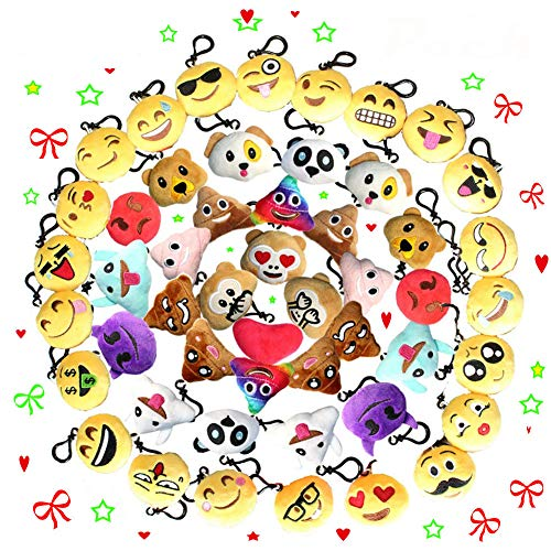 Fashion barra 200 Stücke Mini Emoji Schlüsselanhänger Durchmesser 5 cm Plüsch Kissen Stil Tasche Anhänger, Geschenk für Geburtstag Kinder Party Baby Garten Party (200 Stücke)