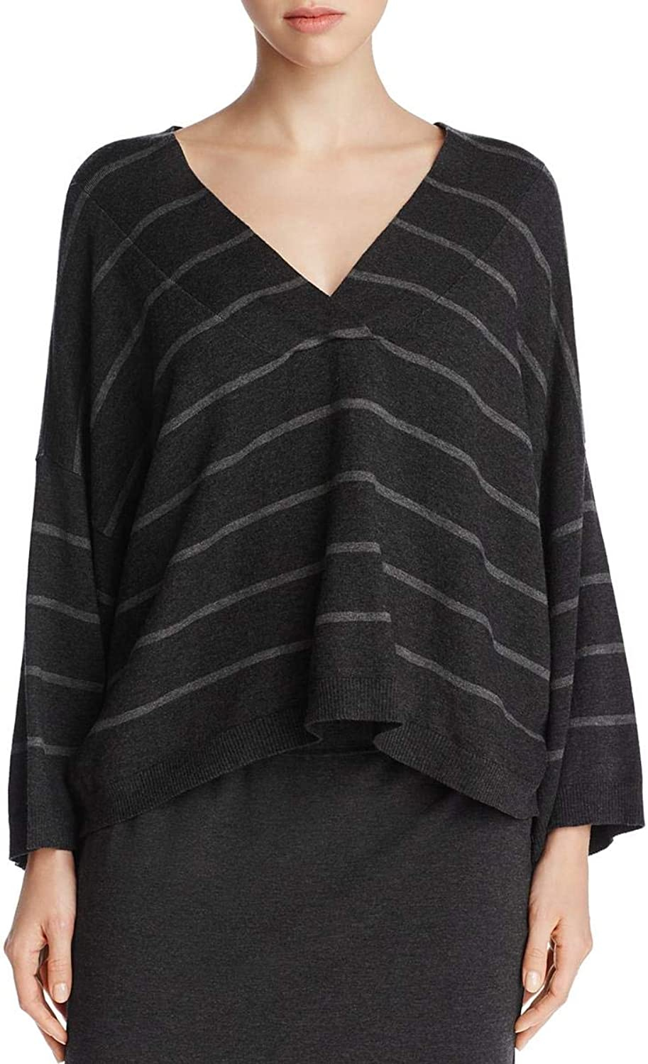 EileenFisher Womens Tencel Striped Crop Sweater
