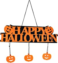 Lovelegis Feliz decoración de Halloween - inscripción - Colgante - Puerta - hogar - Exterior - Interior - Calabaza - Naranja - Negro - Fiesta
