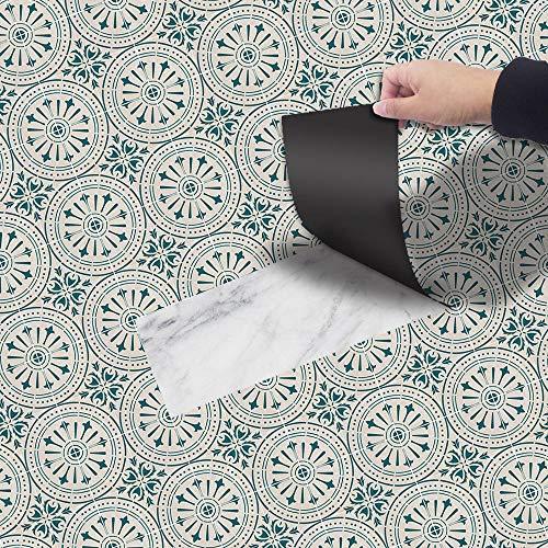 skwff Bodenaufkleber Selbstklebend, Wasserdichte Anti Rutsch für Küchenboden Bad Wohnzimmer Balkon Grüne Muster PVC dekorative Inneneinrichtung
