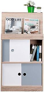 Bookshelf White Freestanding Bookcase2 الطبقة الخشبية خزانة عرض مكتب تخزين المنزل وحدة تخزين مجلس الوزراء (60x25x109cm)